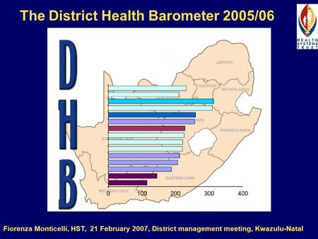 The District Health Barometer 2005/06 Fiorenza Monticelli, HST, 21 February 2007, District management meeting, Kwazulu-Natal.