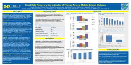 ABSTRACT CONCLUSIONS BACKGROUND Heart Rate Recovery: An Indicator of Fitness Among Middle School Children Daniel Simhaee, Roopa Gurm, Susan Aaronson, Jean.