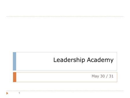 Leadership Academy May 30 / 31.