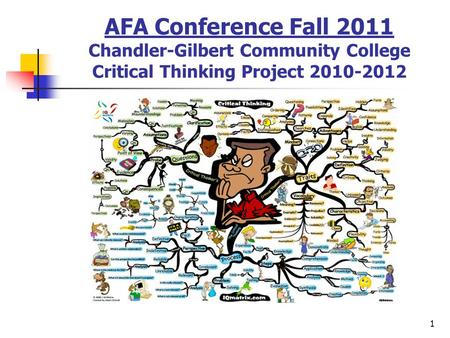1 AFA Conference Fall 2011 Chandler-Gilbert Community College Critical Thinking Project 2010-2012.