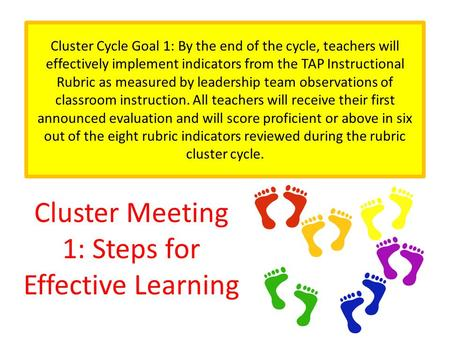 Cluster Meeting 1: Steps for Effective Learning