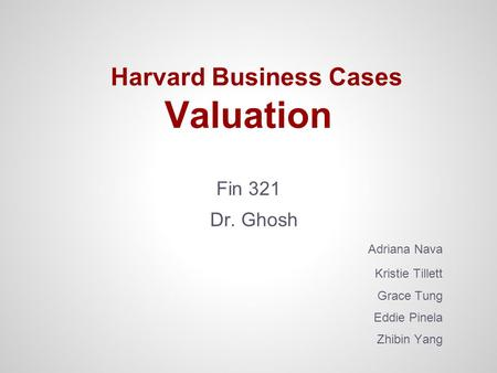Harvard Business Cases Valuation