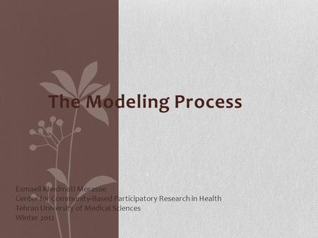 The Modeling Process Esmaeil Khedmati Morasae Center for Community-Based Participatory Research in Health Tehran University of Medical Sciences Winter.