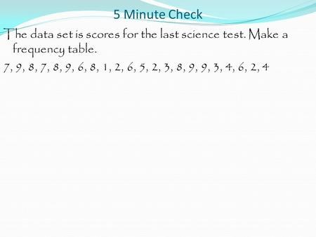 5 Minute Check The data set is scores for the last science test. Make a frequency table. 7, 9, 8, 7, 8, 9, 6, 8, 1, 2, 6, 5, 2, 3, 8, 9, 9, 3, 4, 6, 2,