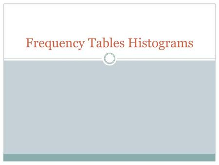 Frequency Tables Histograms. Frequency-How often something happens. Frequency Table- A way to organize data in equal intervals. Histogram- Shows how frequently.