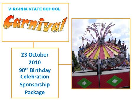 23 October 2010 90 th Birthday Celebration Sponsorship Package VIRGINIA STATE SCHOOL.