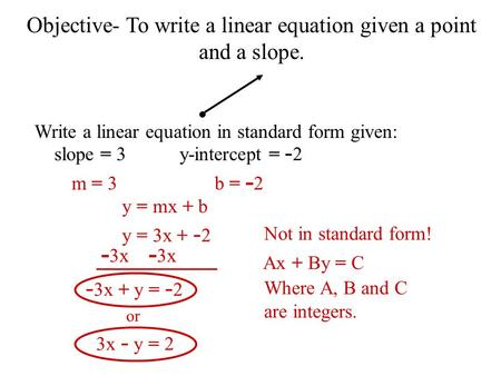 Ch 54 Objective To Rewrite An Equation Between Standard Form And