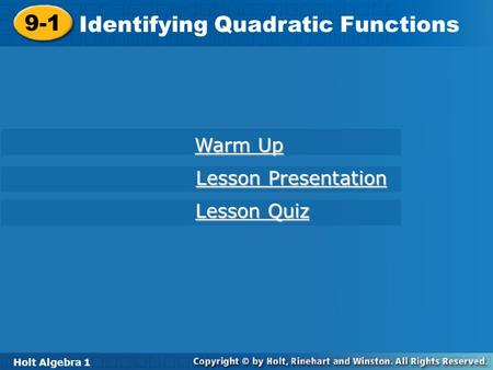 Identifying Quadratic Functions
