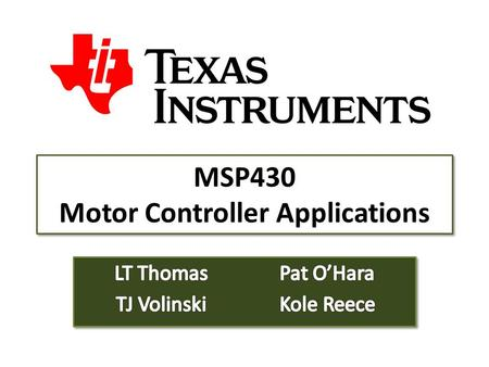 MSP430 Motor Controller Applications