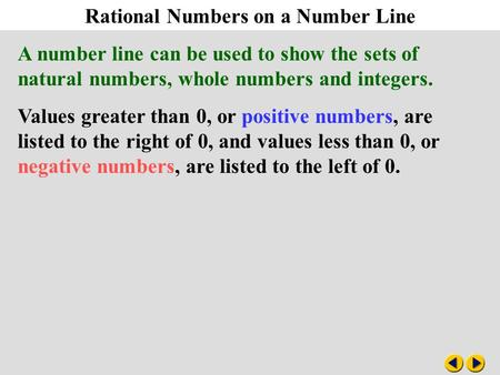 Algebra 2-1 Rational Numbers on a Number Line
