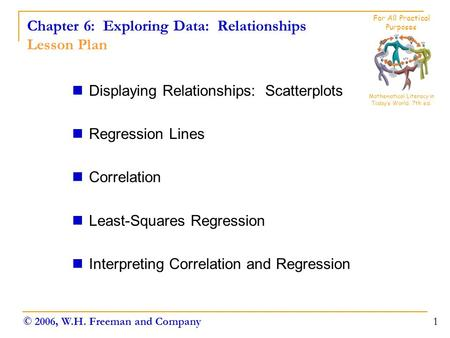 Chapter 6: Exploring Data: Relationships Lesson Plan