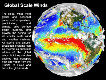 Global Scale Winds The global winds mold global and seasonal patterns of temperature, precipitation, and climate, drive surface <strong>ocean</strong> <strong>currents</strong>, and provide.