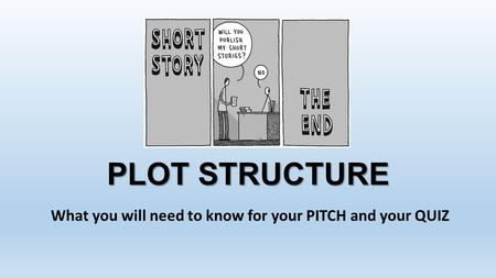 PLOT STRUCTURE What you will need to know for your PITCH and your QUIZ.