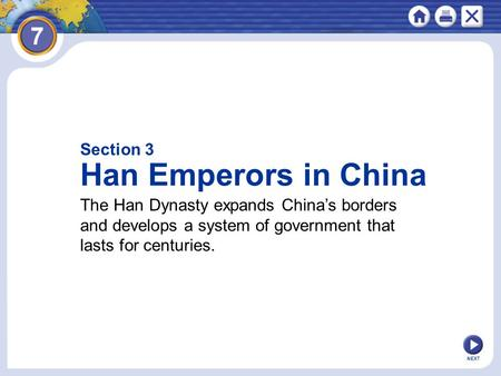 Han Emperors in China Section 3