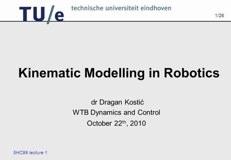 Kinematic Modelling in Robotics
