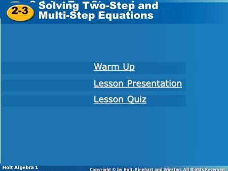 Solving Two-Step and 2-3 Multi-Step Equations Warm Up