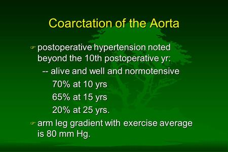 Coarctation of the Aorta F postoperative hypertension noted beyond the 10th postoperative yr: -- alive and well and normotensive -- alive and well and.