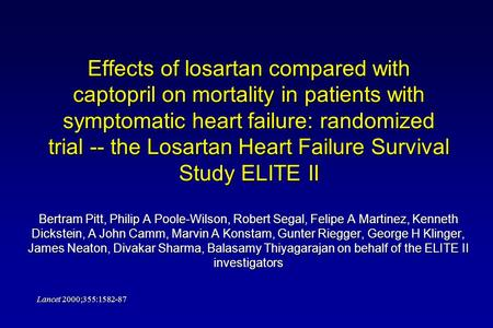 Effects of losartan compared with captopril on mortality in patients with symptomatic heart failure: randomized trial -- the Losartan Heart Failure Survival.