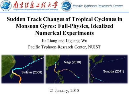 Sudden Track Changes of Tropical Cyclones in Monsoon Gyres: Full-Physics, Idealized Numerical Experiments Jia Liang and Liguang Wu Pacific Typhoon Research.