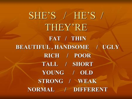 SHE'S / HE'S / THEY'RE FAT / THIN BEAUTIFUL, HANDSOME / UGLY RICH / POOR TALL / SHORT YOUNG / OLD STRONG / WEAK NORMAL / DIFFERENT.