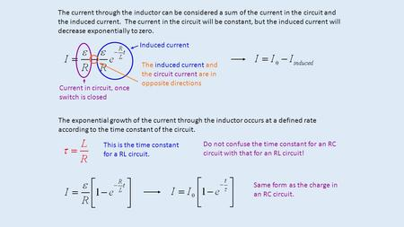 The current through the inductor can be considered a sum of the current in the circuit and the induced current. The current in the circuit will be constant,