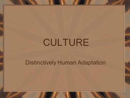 CULTURE Distinctively Human Adaptation Culture is that complex whole which includes knowledge, belief, art, morals, law, custom, and any other capabilities.