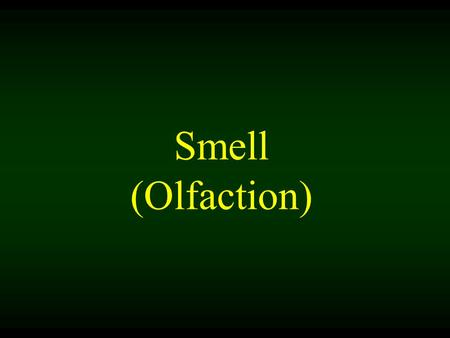 Smell (Olfaction). Smell is a chemical sense. You inhale something of whatever of whoever it is you smell. You smell something when molecules of a substance.