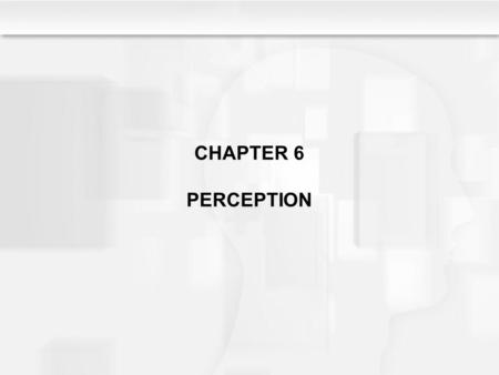 CHAPTER 6 PERCEPTION. Learning Objectives What are the views of constructivists and nativists on the nature/nurture issue as it relates to sensation and.