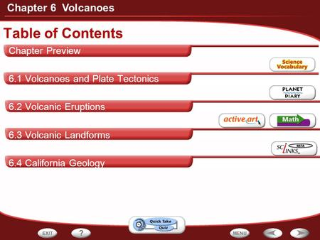 Table of Contents Chapter 6 Volcanoes Chapter Preview