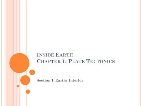 I NSIDE E ARTH C HAPTER 1: P LATE T ECTONICS Section 1: Earths Interior.