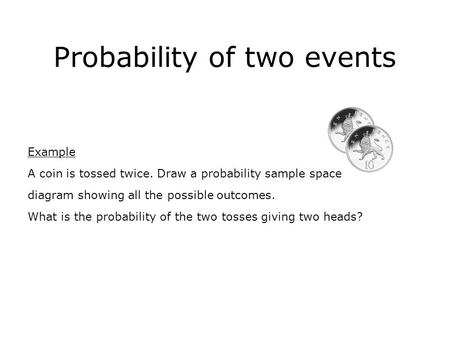 Probability of two events Example A coin is tossed twice. Draw a probability sample space diagram showing all the possible outcomes. What is the probability.
