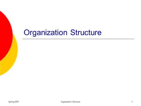 Spring 2007Organization Structure1. Spring 2007Organization Structure2 Why Organizations Are Structured Organizing: The deployment and structuring of.