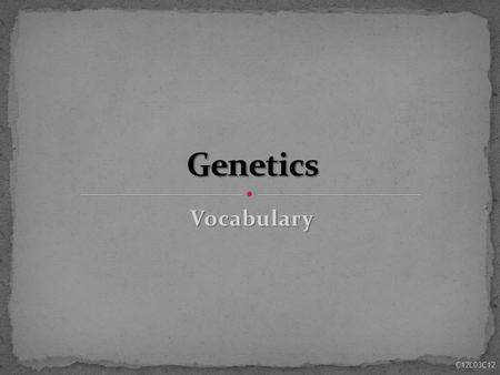 Vocabulary C12L03C12. dominant & recessive Allele - alternative form that a single gene may have for a particular trait (dominant & recessive) e.g. flower.