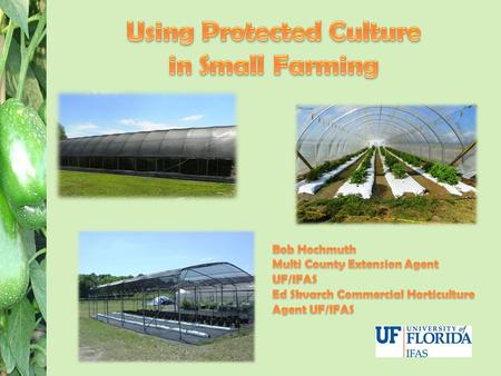 Use of structures, technology, or materials to provide protection to a crop. Protection from: – Temperature and Light Extremes (high and low) – Insects.