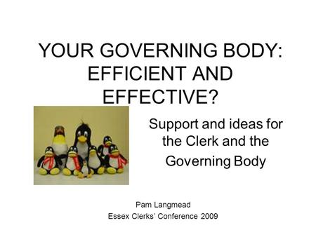 YOUR GOVERNING BODY: EFFICIENT AND EFFECTIVE?