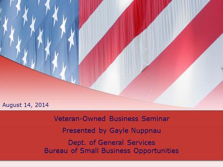 Veteran-Owned Business Seminar Presented by Gayle Nuppnau Dept. of General Services Bureau of Small Business Opportunities August 14, 2014.
