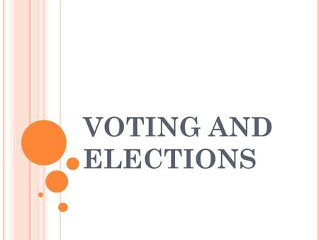 VOTING AND ELECTIONS. T YPES OF E LECTIONS Primary Election: Members of political parties nominate candidates Republicans can only vote for their favorite.