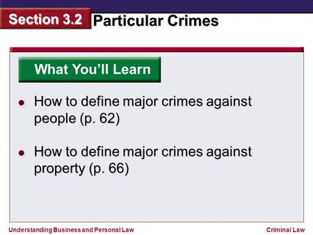 What You'll Learn How to define major crimes against people (p. 62)