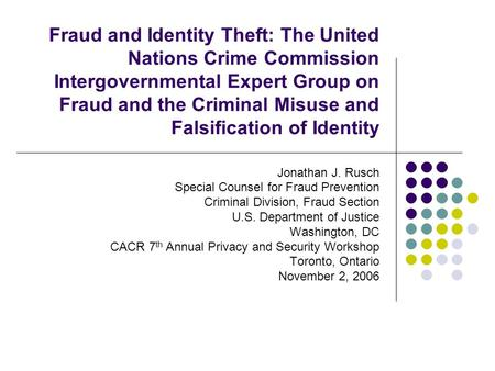 Fraud and Identity Theft: The United Nations Crime Commission Intergovernmental Expert Group on Fraud and the Criminal Misuse and Falsification of Identity.