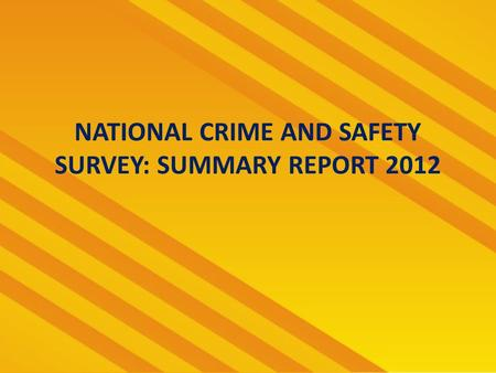 NATIONAL CRIME AND SAFETY SURVEY: SUMMARY REPORT 2012.