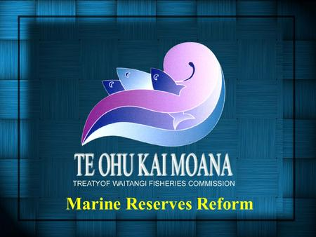 Marine Reserves Reform. Presentation Overview 1.Main Changes in the Bill 2.Fisheries Management Implications 3.Treaty Implications 4.Key Points - Solutions.