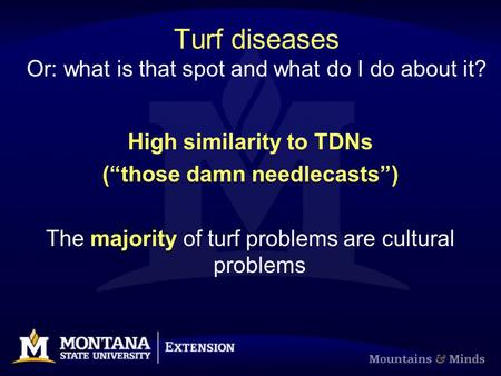 "Turf diseases Or: what is that spot and what do I do about it? High similarity to TDNs (""those damn needlecasts"") The majority of turf problems are cultural."