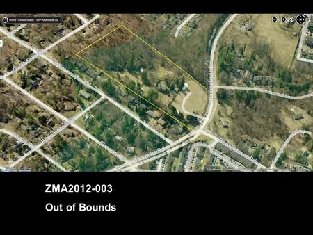 ZMA2012-003 Out of Bounds Insert Image or map. Vicinity Map.