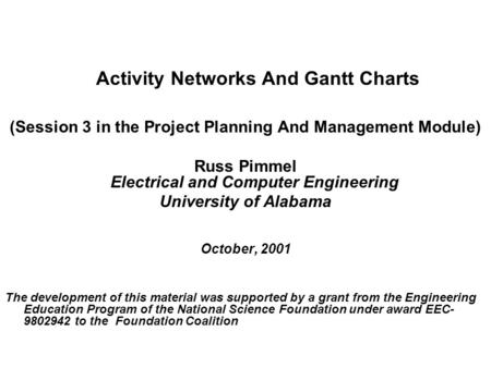 Activity Networks And Gantt Charts