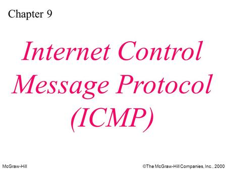 McGraw-Hill©The McGraw-Hill Companies, Inc., 2000 Chapter 9 Internet Control Message Protocol (ICMP)