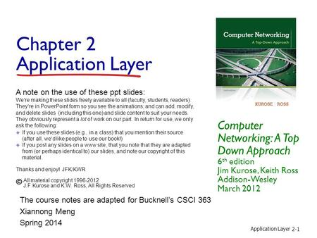 Application Layer 2-1 Chapter 2 Application Layer Computer Networking: A Top Down Approach 6 th edition Jim Kurose, Keith Ross Addison-Wesley March 2012.