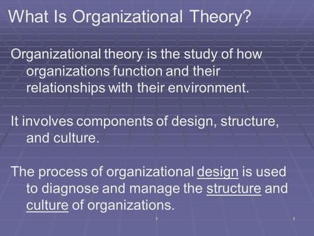 What Is Organizational Theory?
