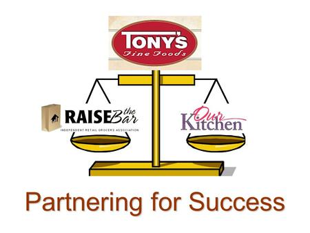 Partnering for Success. It's All About Positioning May 13, 2008 Tony's Fine Food.