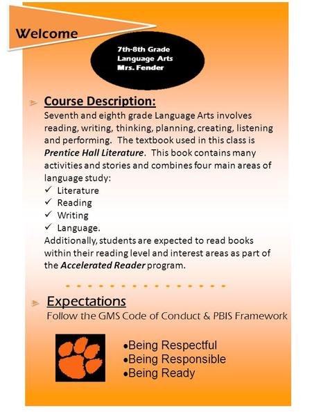 Course Description: Seventh and eighth grade Language Arts involves reading, writing, thinking, planning, creating, listening and performing. The textbook.