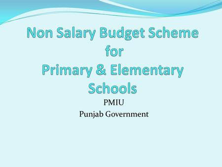 PMIU Punjab Government. Objectives of Scheme To reduce the budgetary constraints of school To reduce drop out To improve & ensure retention of children.